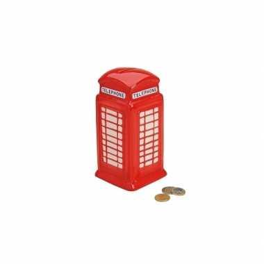 Telefooncel spaarpot rood 19 cm bestellen