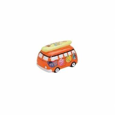 Vakantiebus spaarpot oranje 16 cm