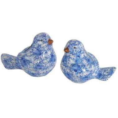Vogel spaarpotje in de kleur blauw bestellen