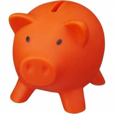 Vrijmarkt spaarpotje oranje varkentje 9 cm bestellen
