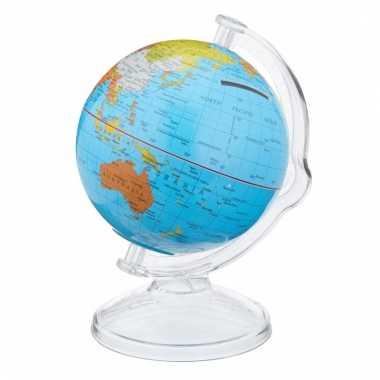 Wereldbol spaarpot van plastic bestellen
