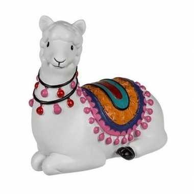 Witte liggende alpaca / lama spaarpot 9 cm bestellen