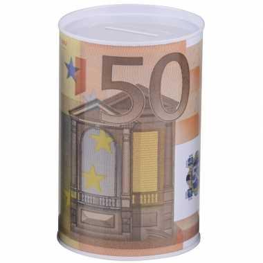 Witte spaarpot 50 euro 8 x 11 cm bestellen