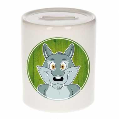 Wolf spaarpot van keramiek 9 cm bestellen