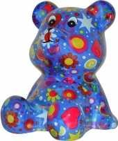 Beren spaarpot blauw gekleurd met bloemen print 16 cm