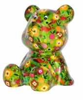 Beren spaarpot groen gekleurd met fruit print 16 cm