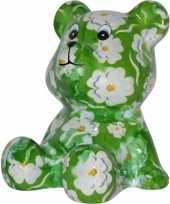 Beren spaarpot groen gekleurd met witte bloemen print 16 cm