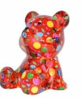 Beren spaarpot rood gekleurd met snoepjes print 16 cm