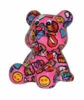 Beren spaarpot roze gekleurd met lippen en smileys 16 cm