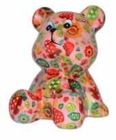Beren spaarpot roze met paddenstoelen print 16 cm