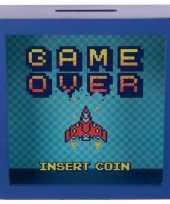Blauwe raam spaarpotje game over insert coin 18x18 cm