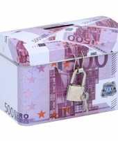 Geldkistje spaarpot 500 euro 11 x 8 cm