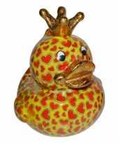 Kado mega spaarpot geel eendje met hartjes 28 cm