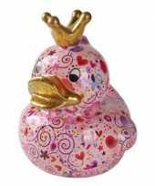 Kado mega spaarpot roze eendje met hartjes 28 cm