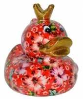 Kado spaarpot eendje met bloemen print 16 cm 10154221