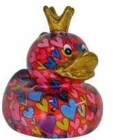 Kado spaarpot eendje met hartjes print 16 cm
