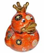 Kado spaarpot oranje eendje met kroontje 28 cm
