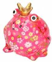 Spaarpot kikker met kroontje roze met gekleurde bloemetjes 16 cm