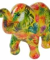 Spaarpot olifant groen met bladeren 20 cm